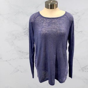 Periwinkle Long Sleeve Top with Lace Sides- Large